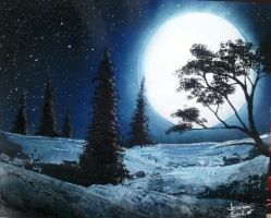 Evergreen Hillside at Night by JessicaSoulier