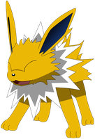 Jolteon laughing! by Flutterflyraptor