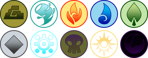 Monsterling Realm-Elemental Buttons by Inkblot-Rabbit