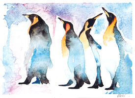 watercolor penguins by Banaanimuffinssi