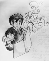 Middle-Earth: Baby Frodo and Bilbo Reading by Alexbee1236