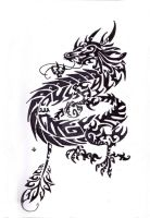 Chinese Dragon Tribal Tattoo by Skrayle