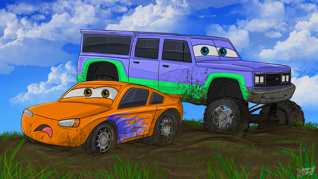 The little racecar in the mud: Need some help? by Foxfan1992