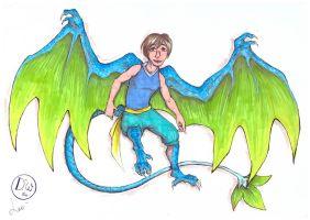 Fantasy caricature - Blue and Green Dragon by LeoDragonsWorks