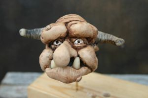 Troll head in sculpey by impsandthings