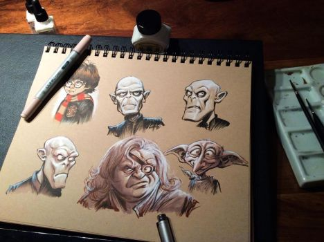 Stylized Harry Potter Sketchbook Studies by Robolus