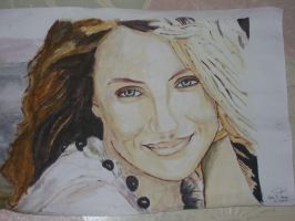 Watercolor Portrait: Cameron Diaz by ForeverWrong
