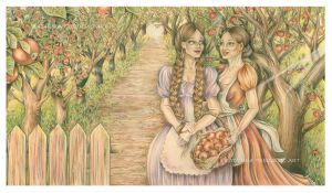 Girls In The Orchard - Colored Pencils Drawing by KatarinaTrbojevic