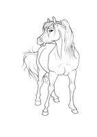 Free mare Lineart by green-ermine