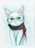 White Cat For a Friend by Meorow