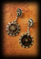 Steampink Gear earrings by DarkRaven17