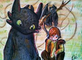 132 Toothless` Drawing by Eiki331