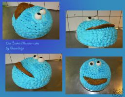 Cookie Monster Cake - collage by Gwendelyn