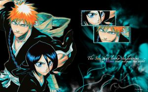 Ichigo and Rukia Wallpaper by PlayxDead88
