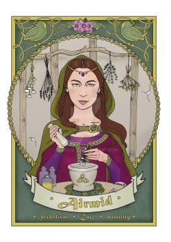 Airmid - a coloured page from my Celtic Colouring by Aurelie-S