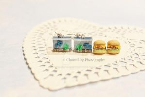 Polymer Clay Fish Tank and Veggie Burger Earrings by CharmStop