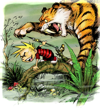 Frazetta Calvin and Hobbes colored by lroyburch