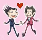 Phoenix and Edgeworth by fireproofmarshmallow
