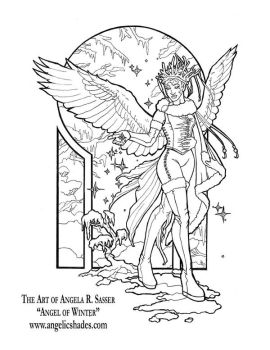 Angel of Winter Line Art by AngelaSasser