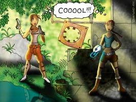When two worlds collide - Chell meets Lara Croft by lia-a-eastwood