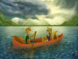 Lonerli and Foxli on the water by kina