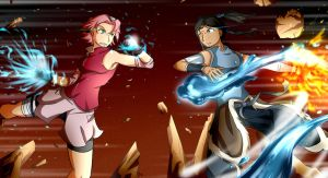 Sakura VS Korra by Smudgeandfrank