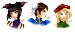+ Juri - Chun-Li - Cammy + by Cathrie-Crash