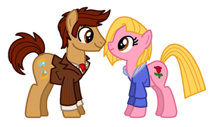 Doctor and Rose Ponies by BlizzardIceFox