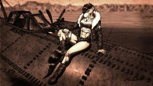 Pennrose and her Plane Sepia Edition by Tristikov