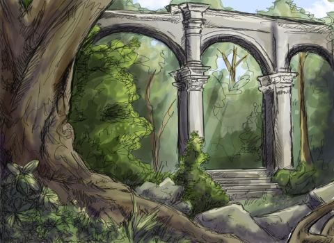 Forest Ruins by icarus-victorious