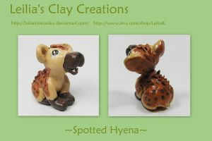 Spotted Hyena Sculpture by LeiliaClay