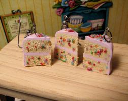 Pink Icing Confetti Cake trio by Miss-Millificent