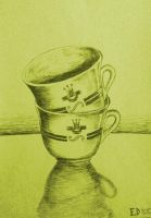 Drawing - Two Cup by eduaarti