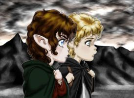 Frodo and Sam with background by SapphireGamgee
