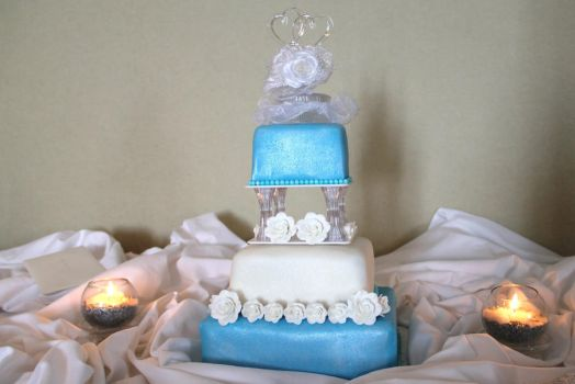Silver and Blue Wedding Cake by CellasCakes
