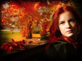 Red leaves and blue eyes by DarkVenusPersephonae