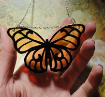 Amber Butterfly Necklace by nellmckellar