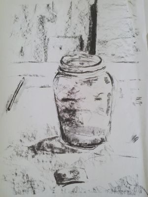 Charcoal Study - Water in Jar by GeorgieDeeArt