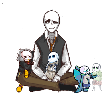 Dadster and his baby Sans! by ltsumi