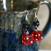 Red and Black d6 Earrings by Utopia-Armoury