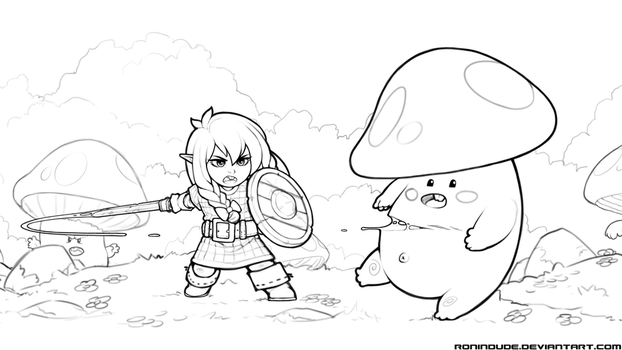 Little Chopper vs Mushroom Dudes - Line Art by RoninDude