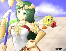 Super Smash Bros. 4 - Palutena vs. Pac-man by m4r1o148