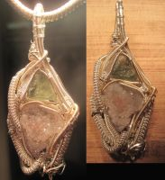 Spirit Quartz and Moldavite Pendant WIP by Civyx