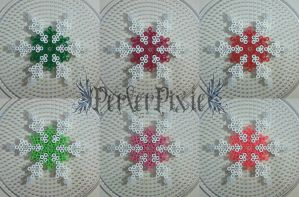 Colored Snowflakes by PerlerPixie