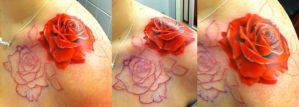 Roses in progress by CreativeCurseKina