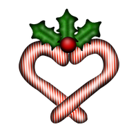 Candy Cane Heart and Holly by marphilhearts
