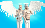Dante and Trish as white angels by WhiteKnightDante