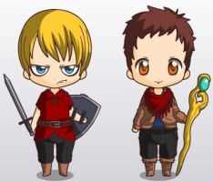 Chibi Arthur and Merlin by Gargoyles21
