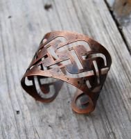 Distressed Copper Knotwork Bracelet by DreamingDragonDesign