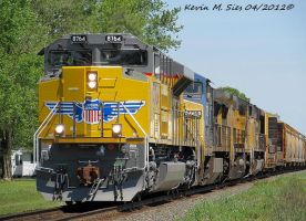 The Latest Union Pacific SD70ACe 8764 leads Q68619 by EternalFlame1891